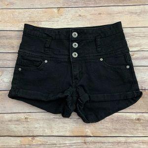 Blue Asphalt Black Denim Shorts